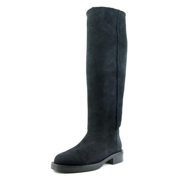 Black Eliza  Curly Shearling Knee height Boots